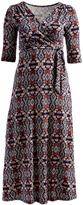 Glam Burgundy Abstract Tie-Waist Maxi Dress - Plus