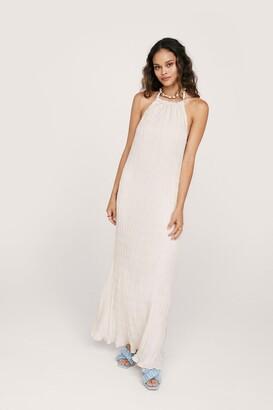 Nasty Gal Womens Textured Halterneck Maxi Slip Dress - Cream - 12