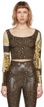 Versace Brown Barocco Patchwork Long Sleeve T-Shirt