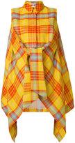 DELPOZO checked tie front shirt - women - Cotton/Linen/Flax/Viscose - 38