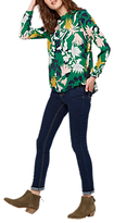 Joules Ada High Neck Woven Top, Oak Green Fay Floral