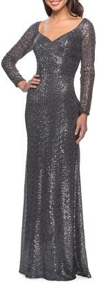 La Femme Long-Sleeve V-Neck Sequin Dress