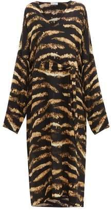 Raey Kimono Sleeve Bleached Tiger Print Silk Dress - Womens - Black Print