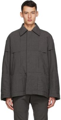 Cornerstone Grey Wool Paneled Jacket