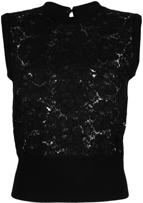 Dolce & Gabbana Lace-Detail Sleeveless Top