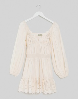 ASOS DESIGN sweetheart broderie mini dress with elasticated waist and long sleeves in cream