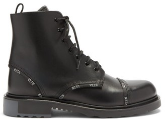 Valentino Lace-up Logo-print Leather Boots - Black