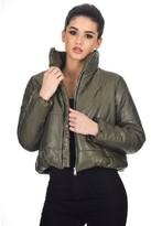 AX Paris Khaki Wet Look Puffer Jacket