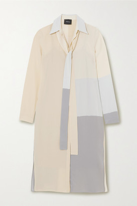 Akris Color-block Mulberry Silk Crepe De Chine Tunic - Ivory