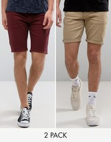 Asos 2 Pack Skinny Denim Shorts In Burgundy And Stone Save