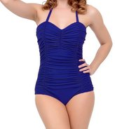 Ebuddy Plus Size 50s Vintage Ruched Mansfield Halter One Piece Swimsuit
