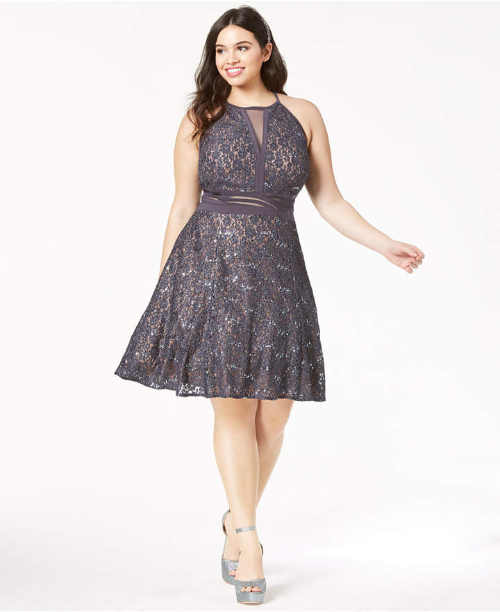 & Company Trendy Plus Size Lace Fit & Flare Dress