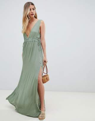 Asos Design DESIGN gathered waist crinkle high low hem beach dress-Green