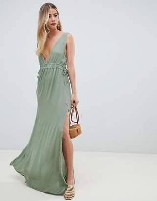 Asos Design DESIGN gathered waist crinkle high low hem beach dress