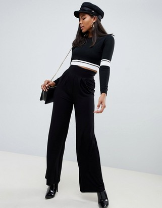 ASOS DESIGN wide leg trousers with deep waistband