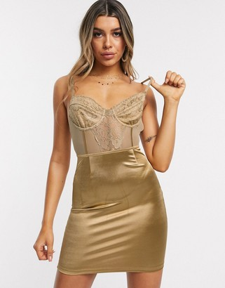 I SAW IT FIRST lace bustier satin bodycon dress