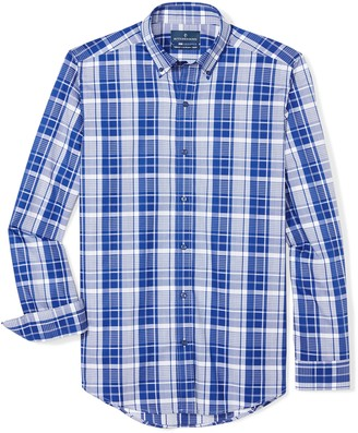 Buttoned Down Men's Tailored Fit Supima Cotton Button-Collar Dress Casual Shirt