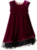 Junior Gaultier Velours Dress with Black Tulle Detail at Bottom (Toddler/Little Kids)