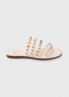 Valentino Garavani Rockstud Flair Flat Cage Thong Sandals