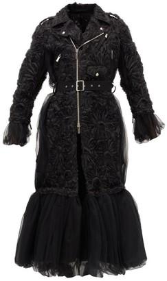 Noir Kei Ninomiya Peplum-hem Floral-applique Tulle Coat - Black