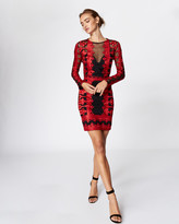 Nicole Miller Crown Embroidered Illusion Dress