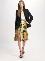 Citrus-Print Silk Skirt