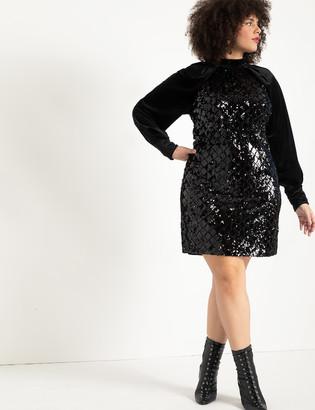 ELOQUII Velvet Sleeve Sequin Shift Dress