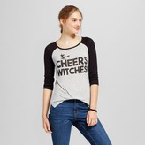 Zoe+Liv Women's Cheers Witches Graphic Raglan Gray