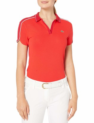 Lacoste Womens Sport Stretch Mini Pique Contrasted Piping Golf Polo Polo Shirt