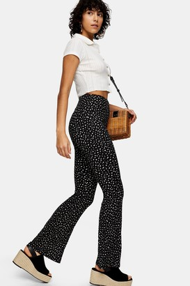 Topshop Womens Black And White Ditsy Flare Trousers - Monochrome