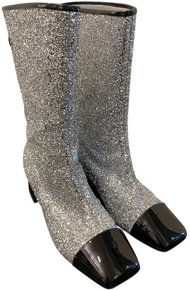 Chanel Silver Glitter Boots