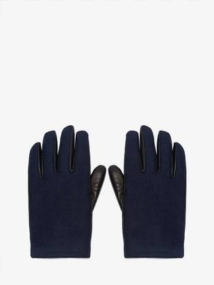 Alexander McQueen Woven Felt Leather Gloves