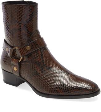 Saint Laurent Mid Heel Genuine Python Leather Boot