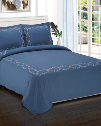 Helena Superior Embroidered Duvet Cover Set, Full/Queen