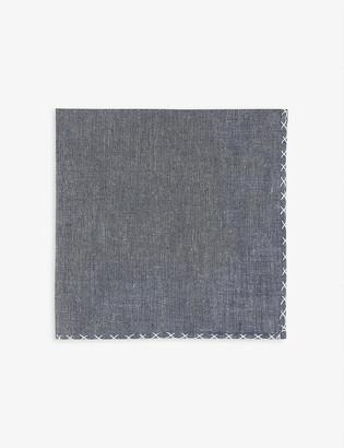 Eleventy Embroidered trim cotton pocket square