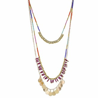 Panacea Womens Multi Strand Seed Bead Necklace With Stick Charm