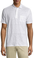 Ermenegildo Zegna Linen Short-Sleeve Polo Shirt, White