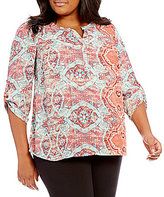 Gibson & Latimer Plus 3/4 Roll-Tab Sleeve Printed Blouse