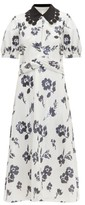 Self-Portrait Self Portrait Sequin-embellished Floral Midi Dress - Womens - Cream Navy