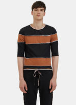 Telfar Men's Raw Layered Crew Neck Striped T-shirt In Brown And Black