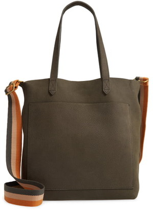 Madewell The Medium Nubuck Leather Transport Tote: Striped Strap Edition