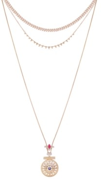 """GUESS Gold-Tone Crystal & Stone Layered Pendant Necklace, 12"""" + 2"""" extender"""