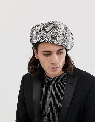 Asos Design DESIGN beret with snake print-White