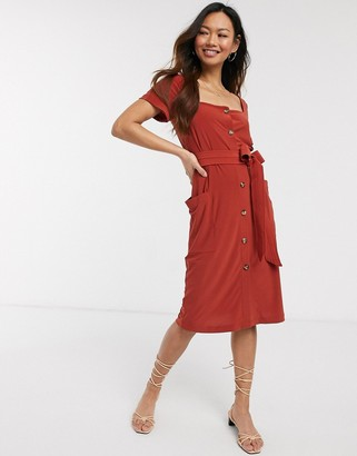 French Connection slinky button neck midi dress