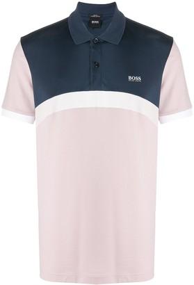 HUGO BOSS Logo Print Stripe Polo Shirt