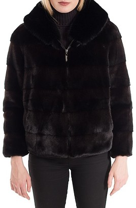 Belle Fare Faux Rabbit Fur Hooded Bomber Jacket