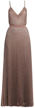 Missoni Lace Trim Metallic Pleated Maxi Dress