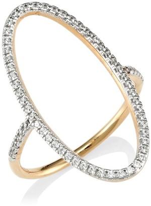 ginette_ny 18K Rose Gold & White Diamond Open Ellipse Ring