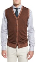 Washed Cashmere Sweater Vest, Brown