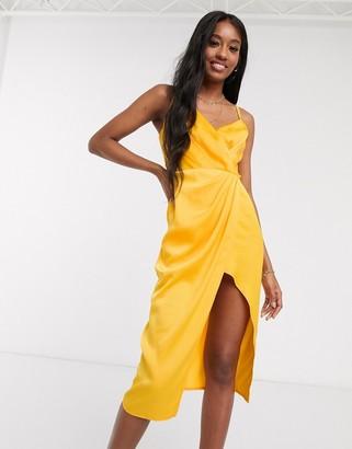 Little Mistress satin wrap dress in marigold